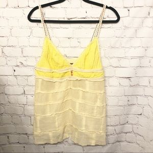 FREE PEOPLE YELLOW PATCHWORK DAINTY CAMISOLE